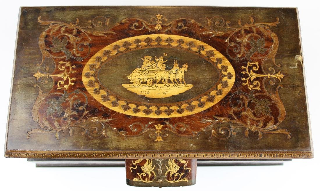 late 19th c French marquetry inlaid jewelry box