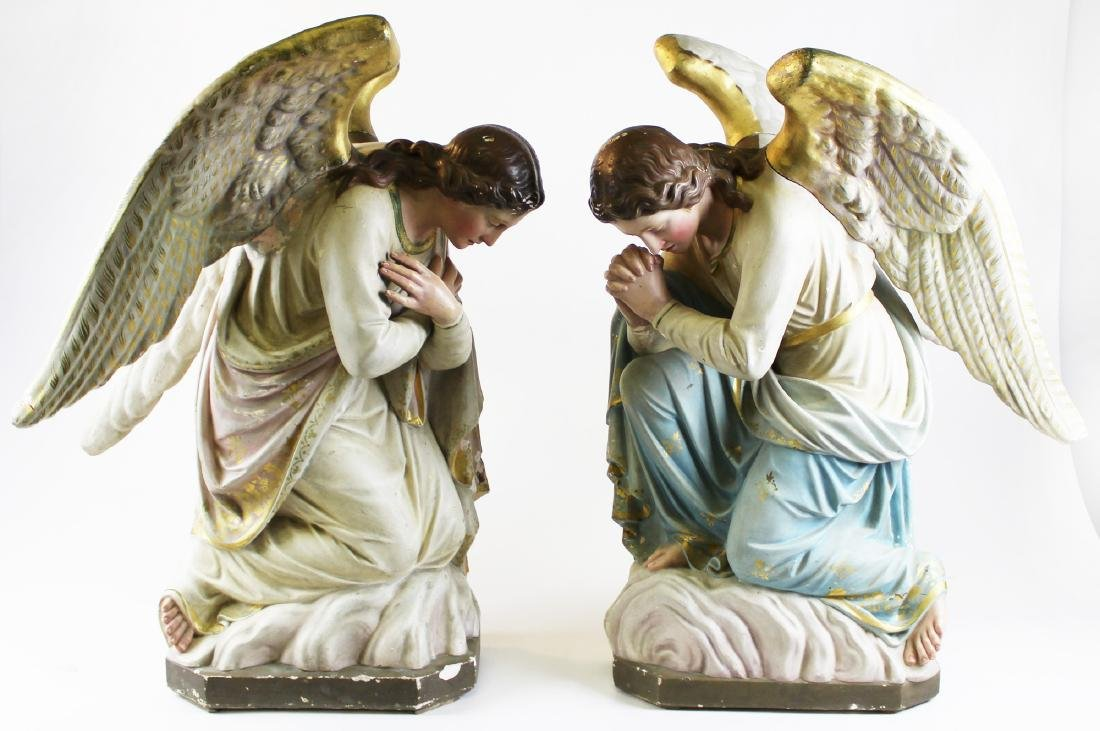 pr of late 19th c polychrome plaster angels