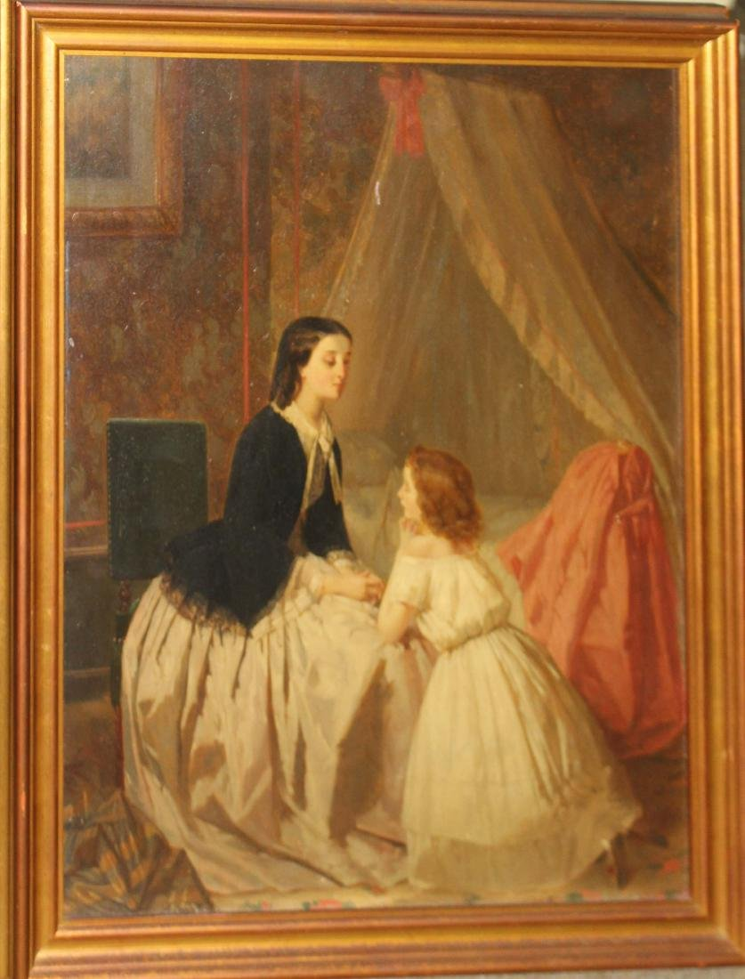 Circa 1850 oil on panel- Mother and Daughter