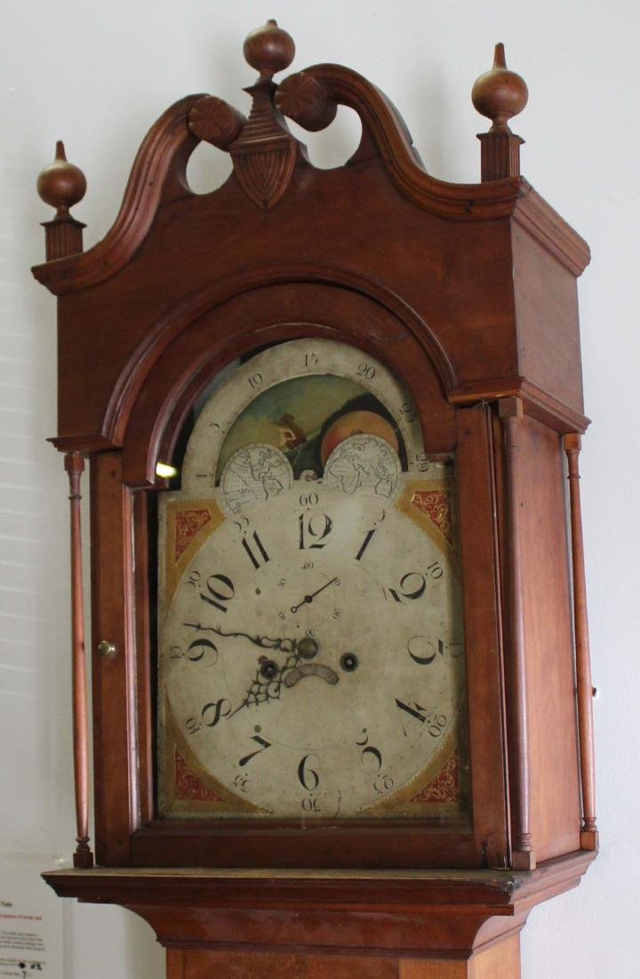 PA Chippendale cherry tall case clock