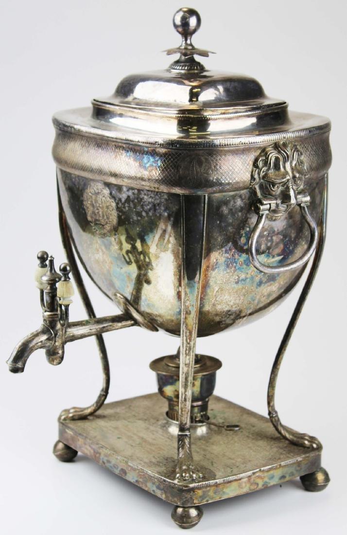 19th c. Sheffield plated neoclassical tea urn
