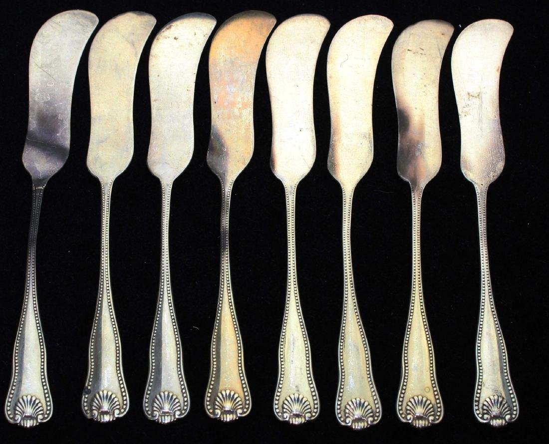 8 sterling silver Georgian shell butter spreaders