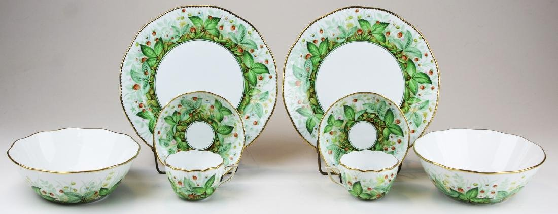Two Herend Strawberry porcelain place settings