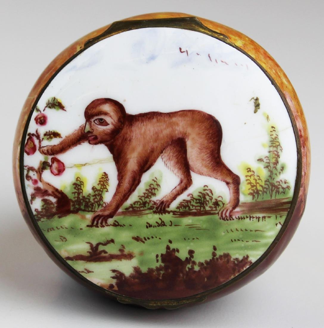 Rare 18th c. Battersea enamel monkey pill box