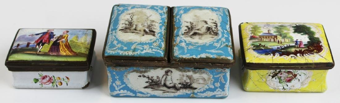 group of 18th c. Battersea enamel pill boxes
