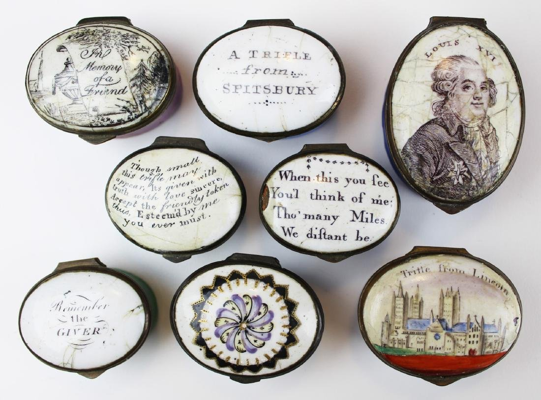 collection of 8 18th c. Battersea enamel boxes