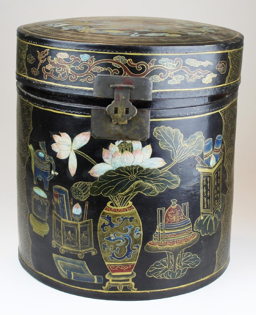 early 20th c Chinese lacquered storage box