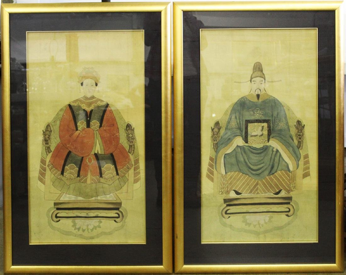 19th c Chinese ancestor portraits on silk