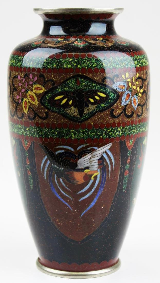 early 20th c Japanese cloisonné on silver vase