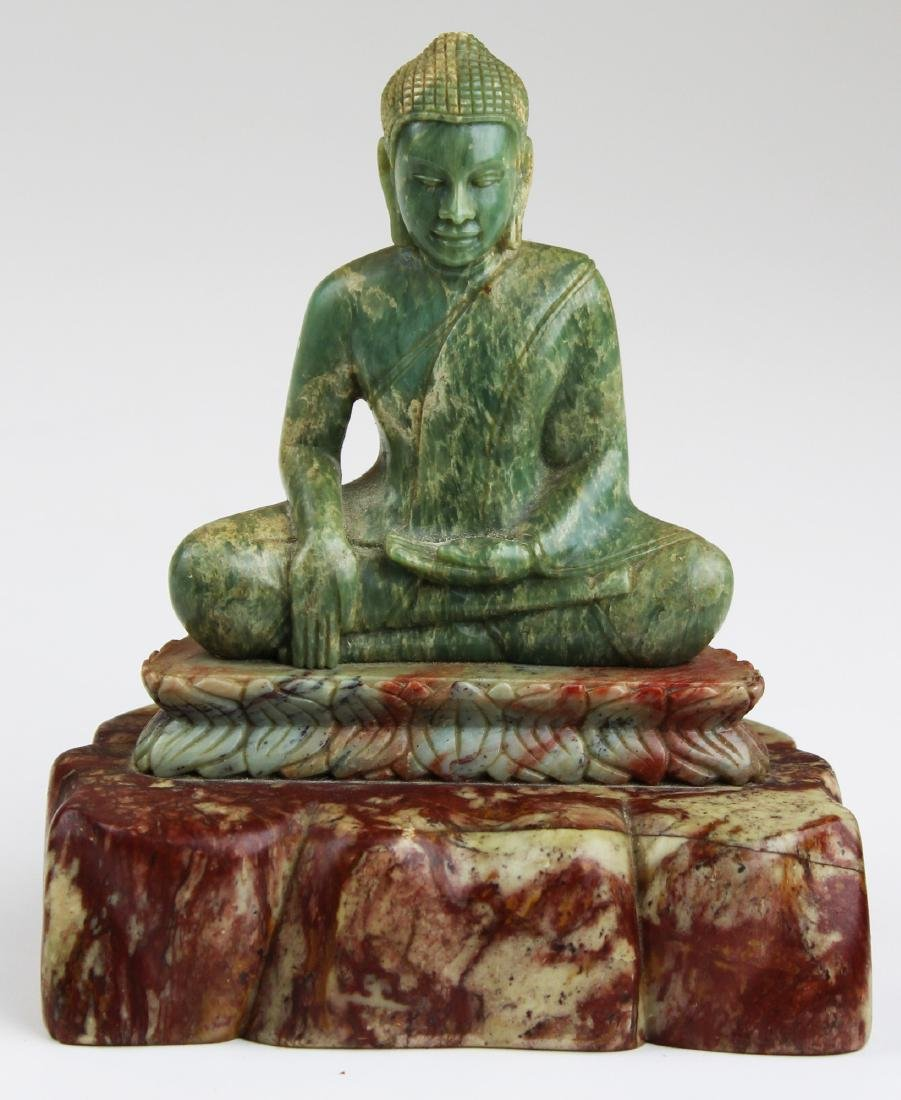 mid 20th c Chinese carved jade Buddha