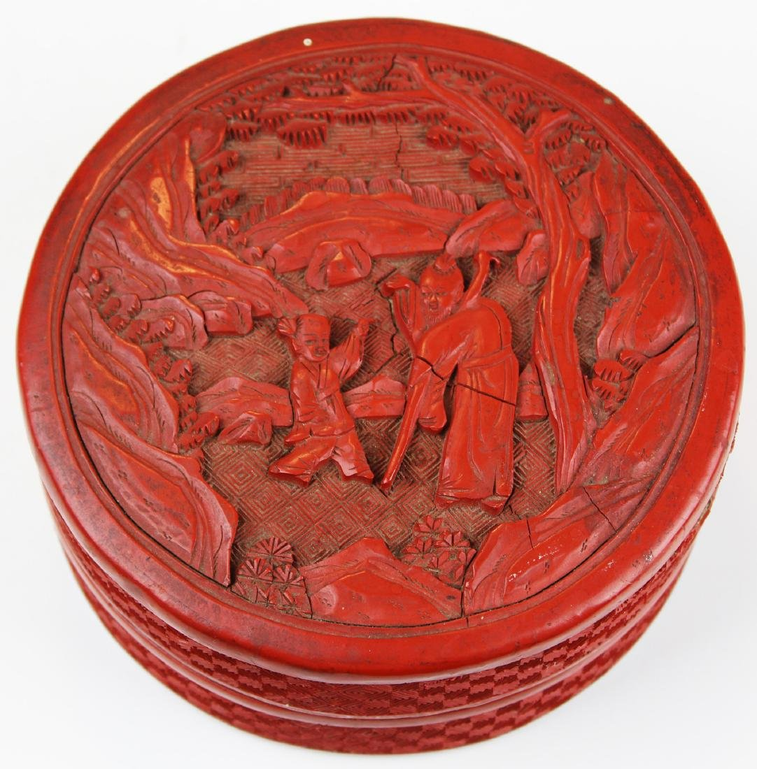 early 20th c Chinese cinnabar covered dish
