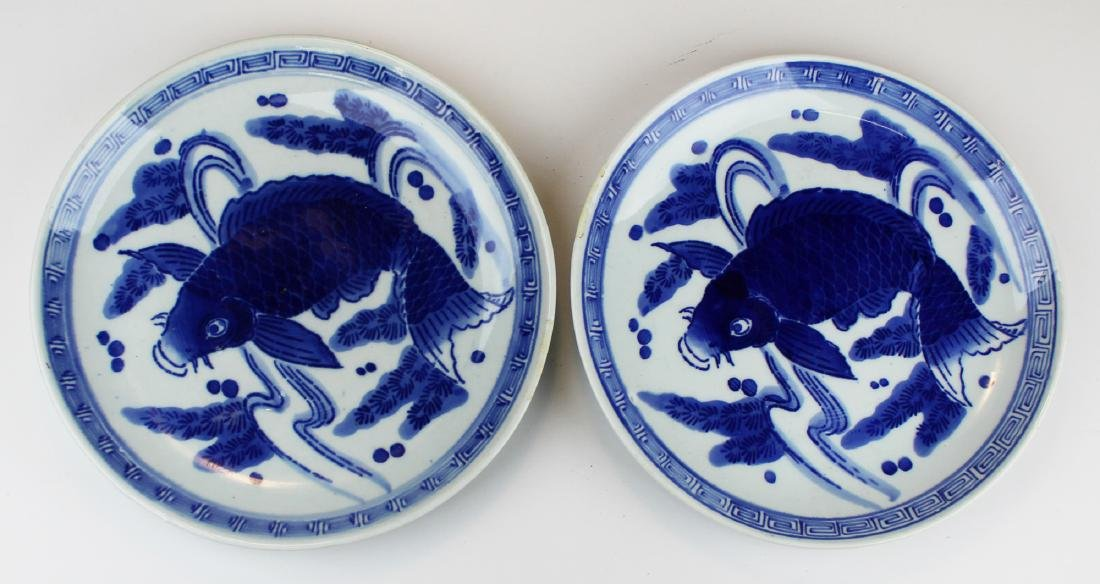 two early 20th c Chinese blue & white chargers
