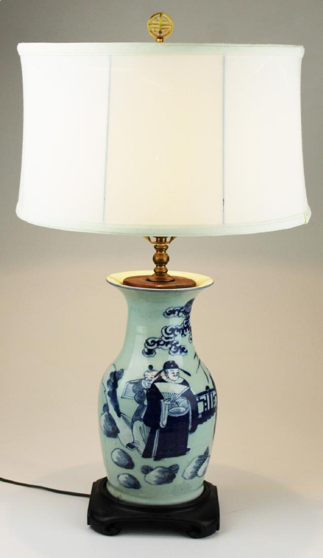 early 20th c Chinese blue & celadon vase/ lamp