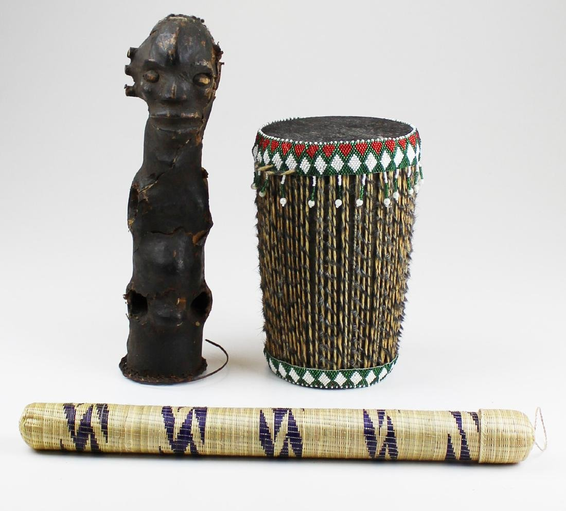 mid 20th c African figure, needle case, drum