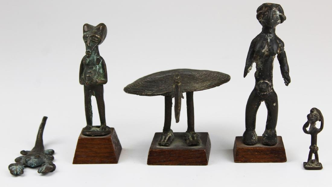 five mid 20th c African bronze figures