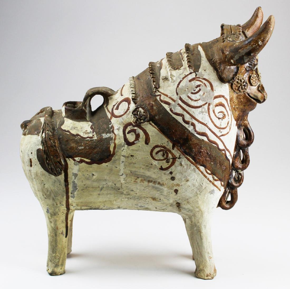 mid 20th c Peruvian terra cotta Pucara bull