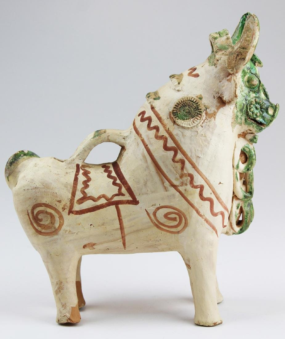 late 20th c Peruvian terra cotta Pucara bull