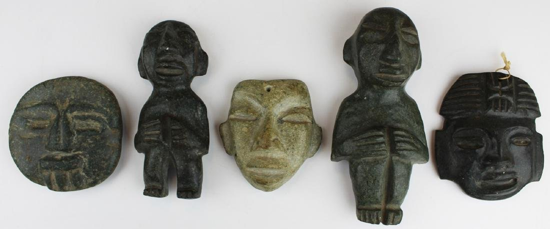 three mid 20th c pre-Columbian style carvings