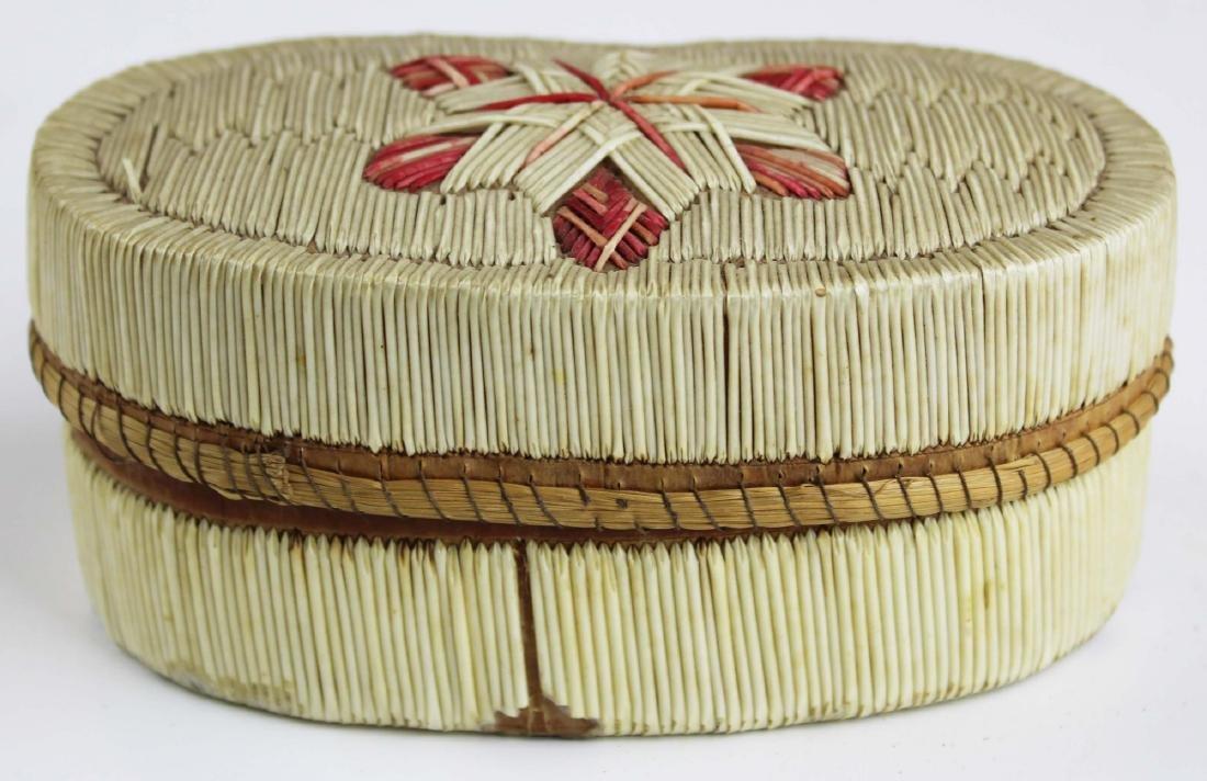 mid 20th c Mi'kmaq oval quill decorated box
