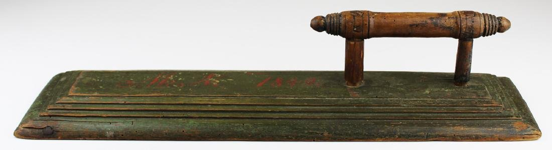 dated 1849 painted wooden bed smoother