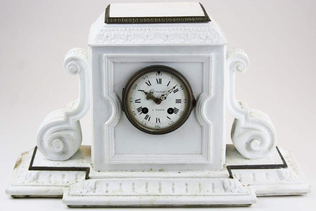 19th c Crosnier Paris bisque china case clock