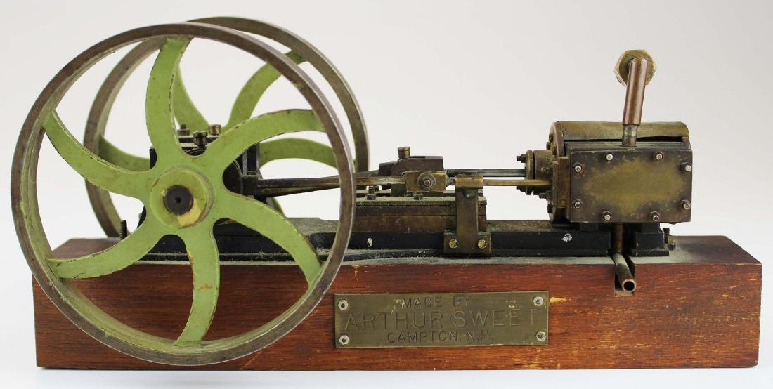 mid 20th c brass & steel model steam engine
