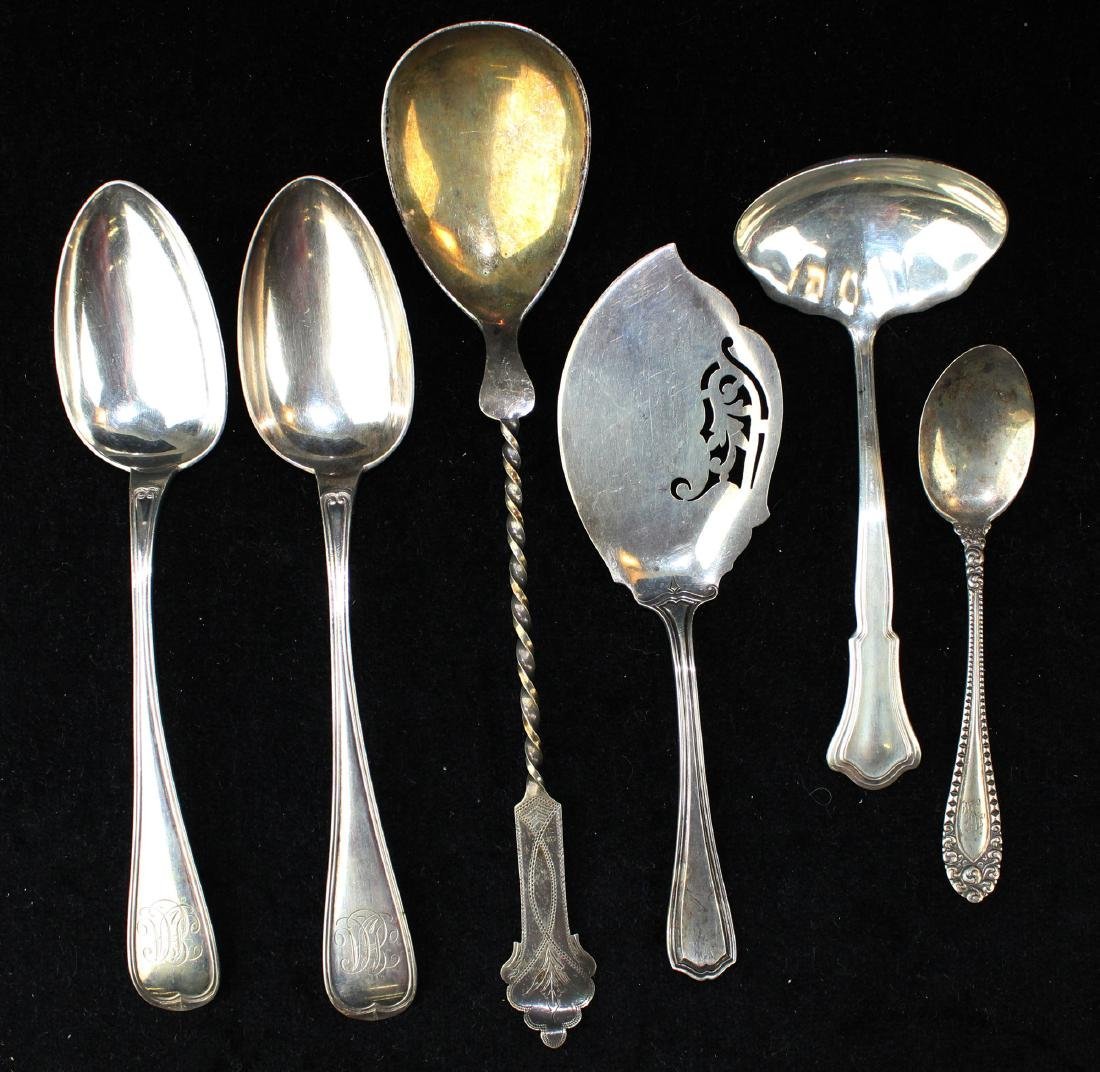 6 pcs. Sterling and Continental silver flatware
