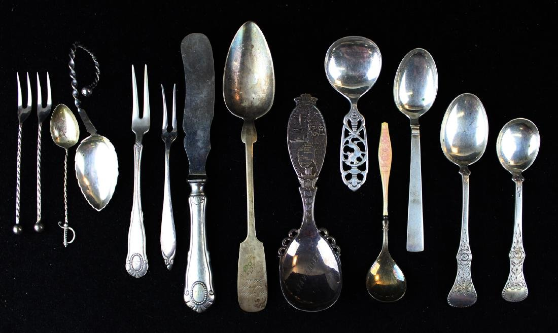 14 pcs. Continental silver flatware