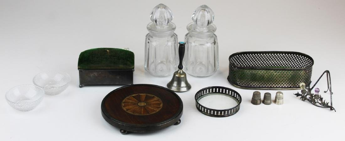 group of sterling and glass accessories