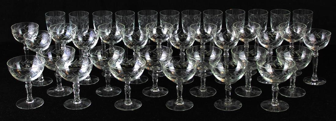 38 pcs. Fostoria Holly elegant glass stemware