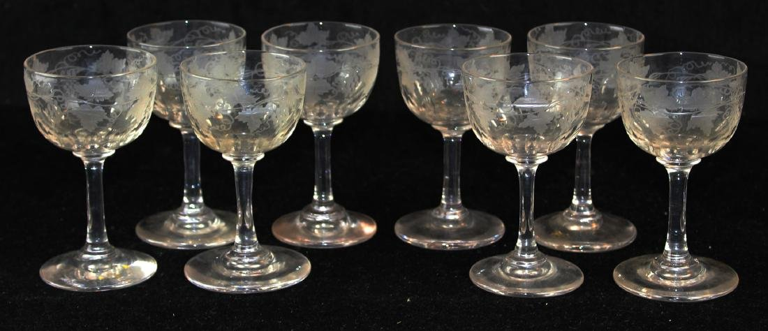 19th c. Bohemian free blown and etched goblets