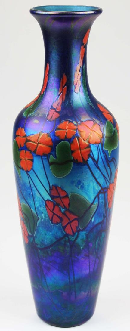 Phoenix Studios iridescent art glass vase