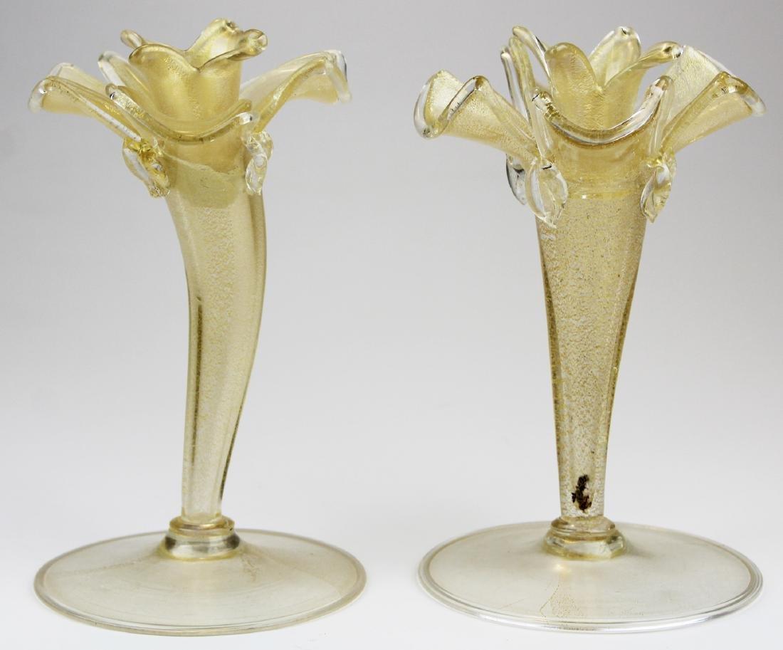 pair of mid-century Murano tall candlesticks