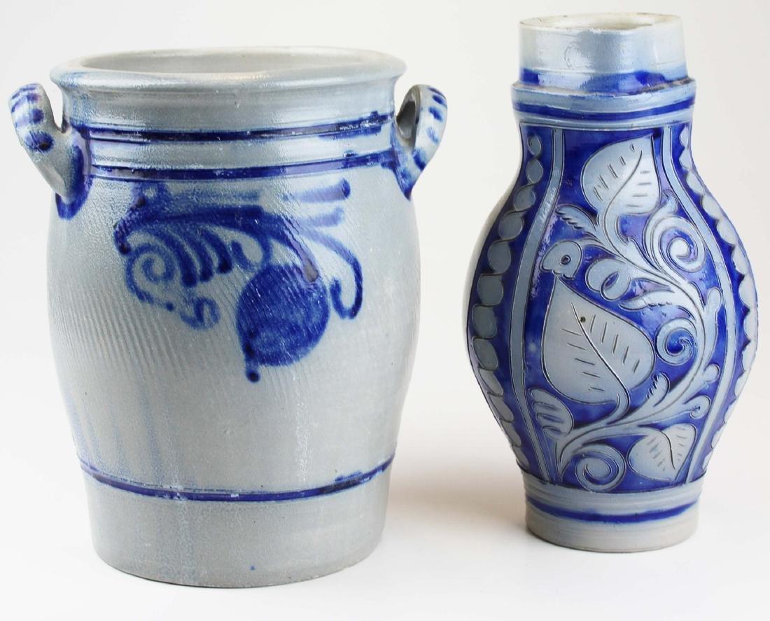 20th c German blue decorated stoneware