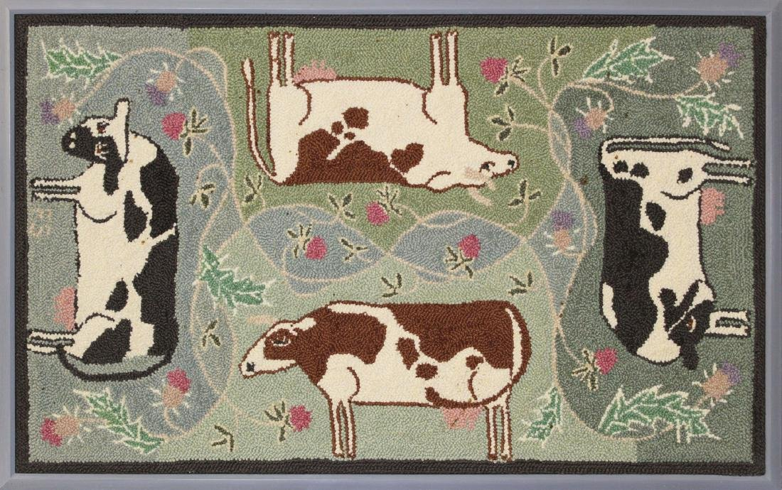 "20th c McAdoo ""Cow Quartet"" hooked rug"