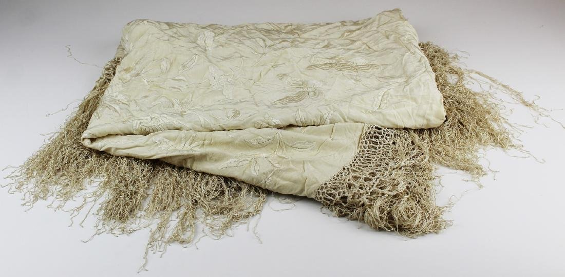 early 20th c silk embroidered shawl with fringe