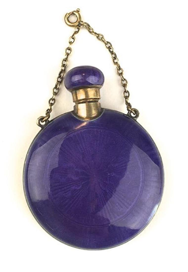 Sterling enamel mid century scent bottle.