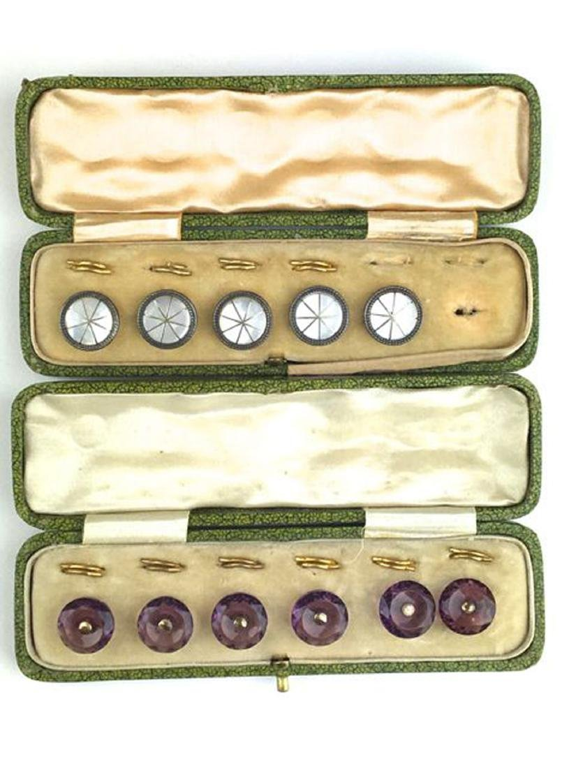 Two sets of Victorian men's button sets