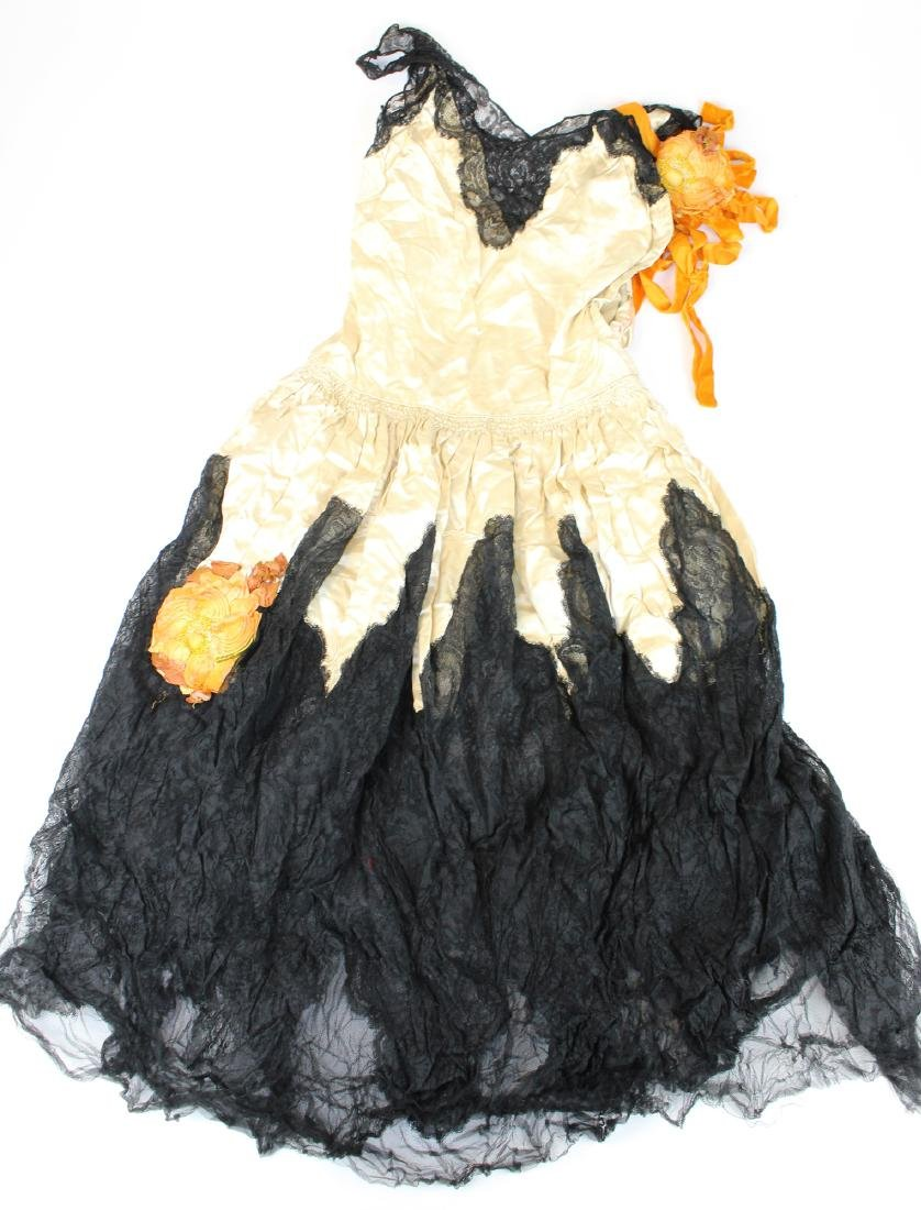 1920's silk & black lace dress