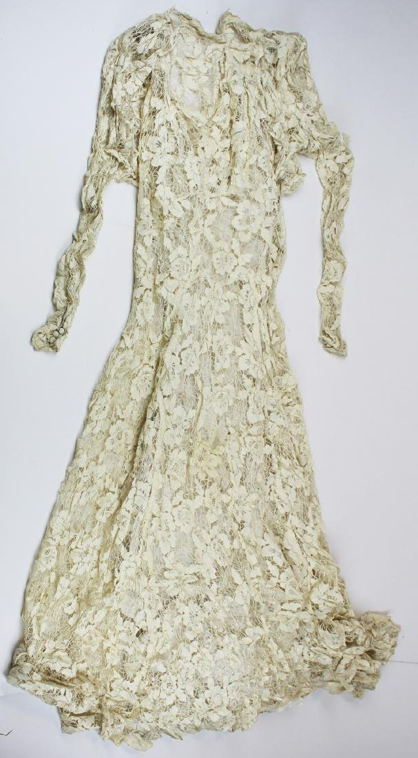 1920's white lace dress with long sleeves