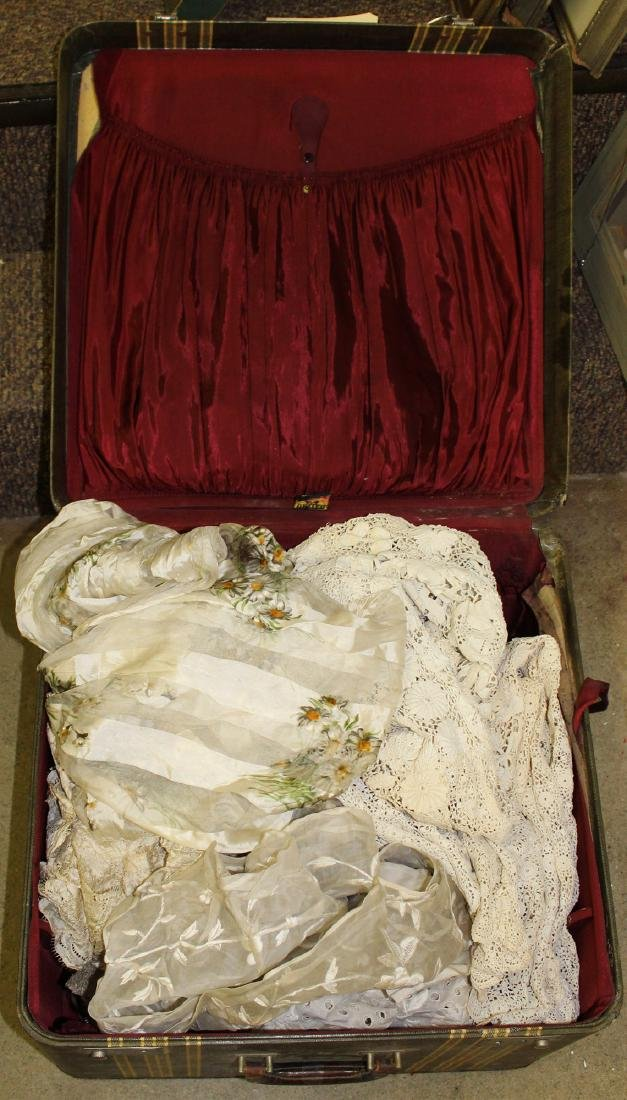 suitcase with 1920's lace, embroidery