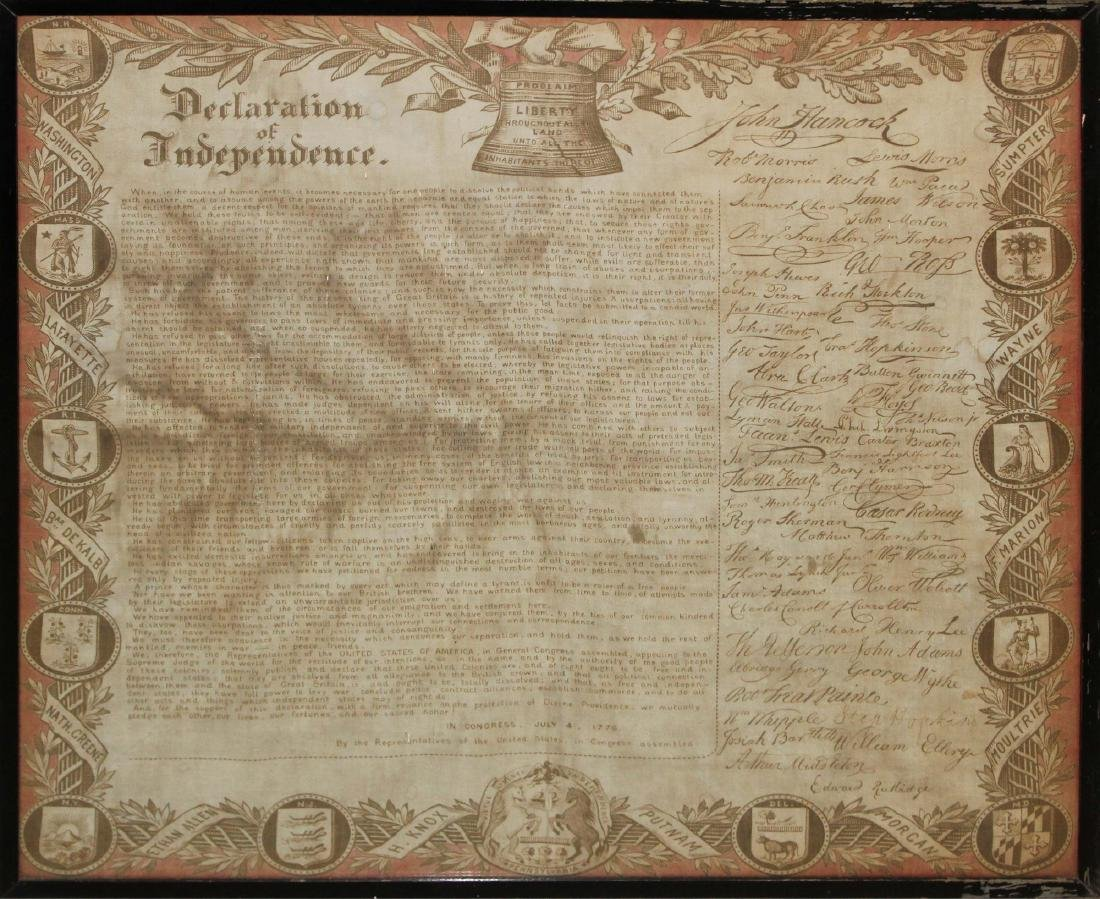19th c Declaration of Independence on cloth