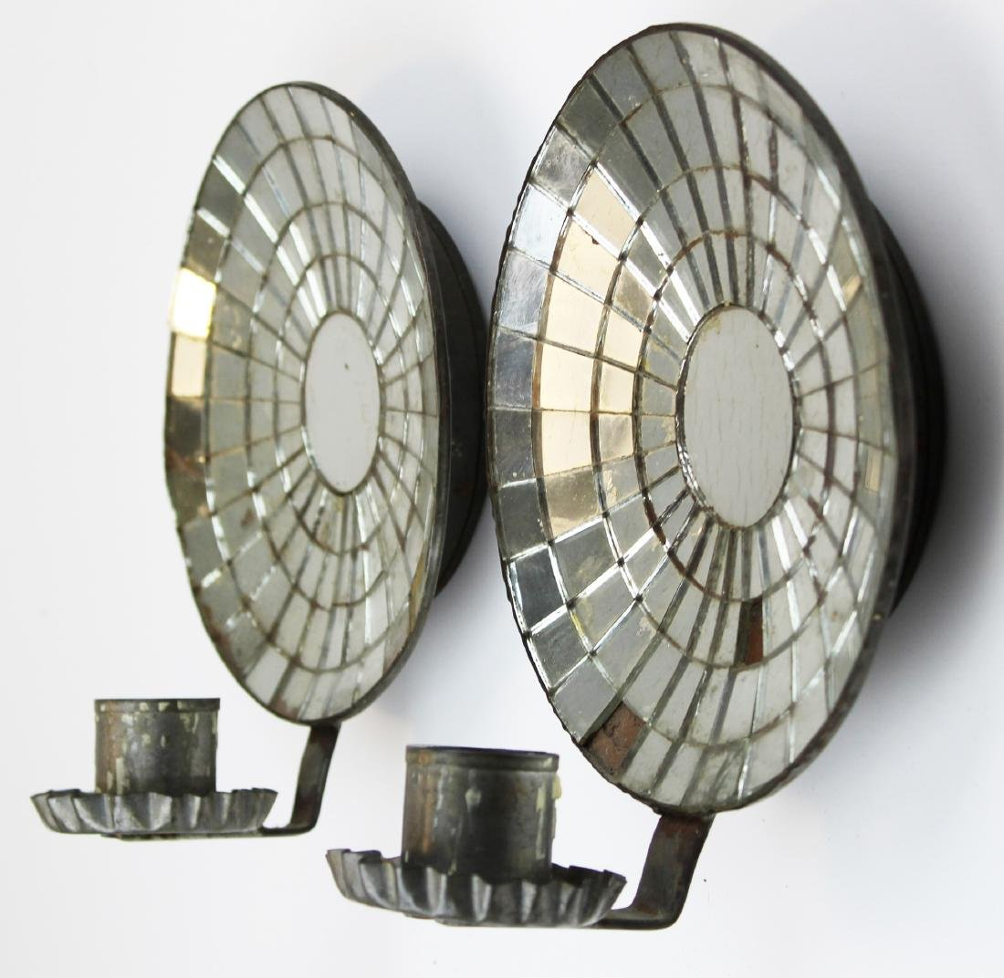 pr of mirrored tin wall sconces
