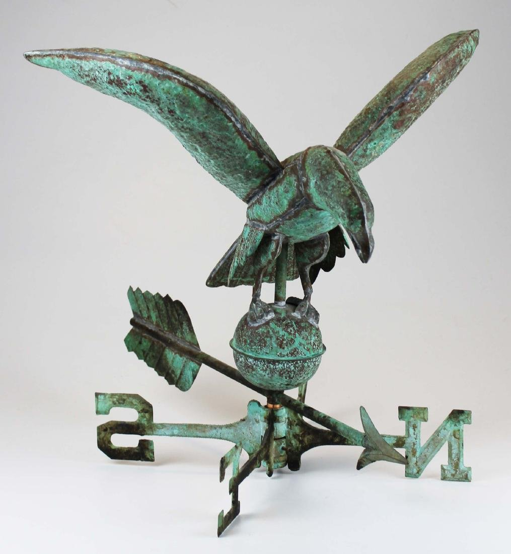mid 20th c copper eagle weathervane