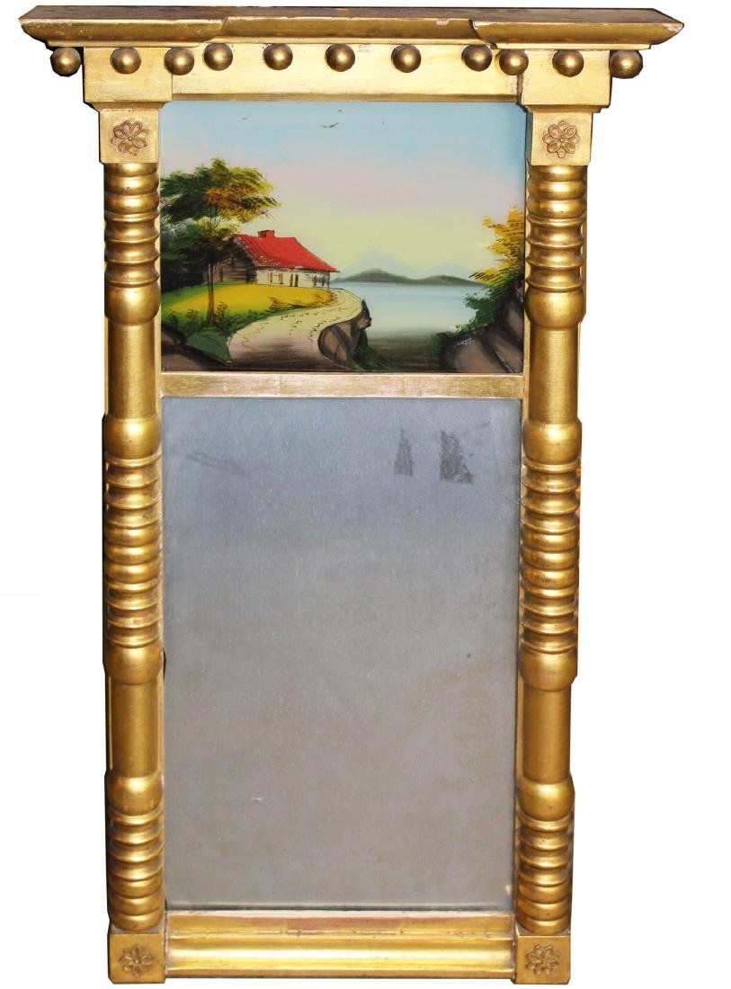 early 19th c reverse painted split column mirror