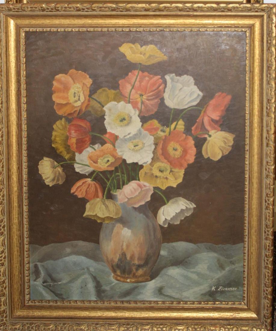 K Zimmer (20th c) Floral still life