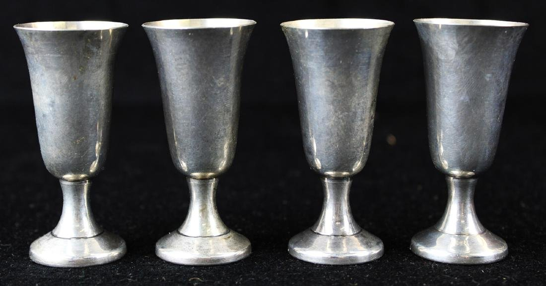 4 Wallace sterling silver footed cordial cups