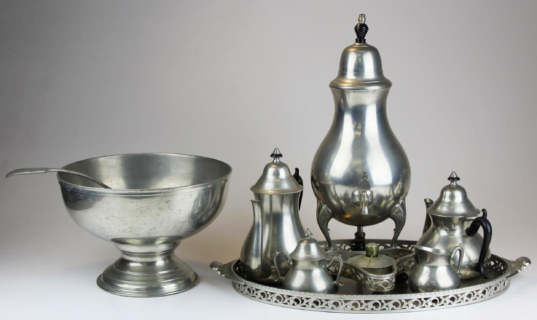 Colonial Revival pewter tea set and punch bowl