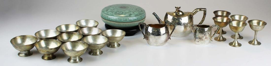 celadon covered dish and silver-plated hollowware