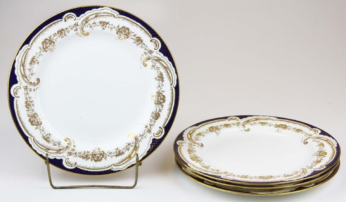 4 Wedgwood gilt cobalt bone china dinner plates